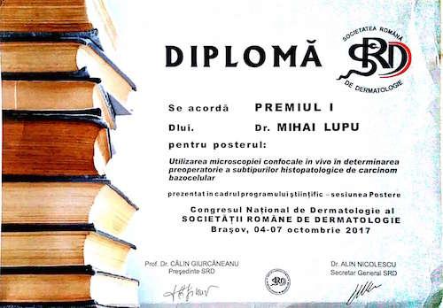 diploma premiu poster congres national dermatologie SRD 2017