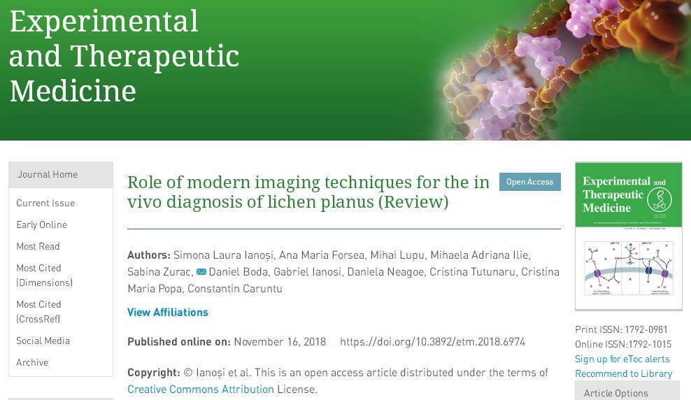 articol stiintific spandidos publication lichen plan metode neinvazive diagnostic